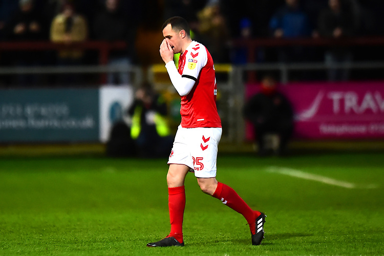 Fleetwood Town's Dean Marney walks off after being shown a red card <br /> <br /> Photographer Richard Martin-Roberts/CameraSport<br /> <br /> The EFL Sky Bet League One - Fleetwood Town v Portsmouth - Saturday 29th December 2018 - Highbury Stadium - Fleetwood<br /> <br /> World Copyright © 2018 CameraSport. All rights reserved. 43 Linden Ave. Countesthorpe. Leicester. England. LE8 5PG - Tel: +44 (0) 116 277 4147 - admin@camerasport.com - www.camerasport.com
