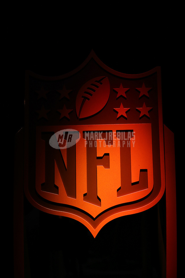 Feb. 2, 2013; New Orleans, LA, USA: The NFL logo on display near the red carpet prior to the Super Bowl XLVII NFL Honors award show at Mahalia Jackson Theater. Mandatory Credit: Mark J. Rebilas-USA TODAY Sports