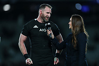 All Blacks captain Kieran Read is interviewed by Skysport's Kirstie Stanway after winning the Bledisloe Cup Rugby match between the New Zealand All Blacks and Australia Wallabies at Eden Park in Auckland, New Zealand on Saturday, 17 August 2019. Photo: Simon Watts / lintottphoto.co.nz