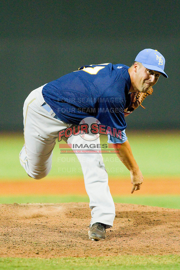 Myrtle Beach Pelicans relief pitcher Joe Van Meter #47 in action against the Winston-Salem Dash at BB&T Ballpark on July 5, 2012 in Winston-Salem, North Carolina.  The Dash defeated the Pelicans 12-5.  (Brian Westerholt/Four Seam Images)