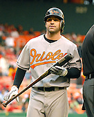 Washington, D.C. - May 19, 2007 -- Baltimore Orioles second baseman Brian Roberts (1) unhappily returns to the dugout after striking out in first inning action against the Washington Nationals at RFK Stadium in Washington, D.C. on Saturday, May 19, 2007.  .Credit: Ron Sachs / CNP
