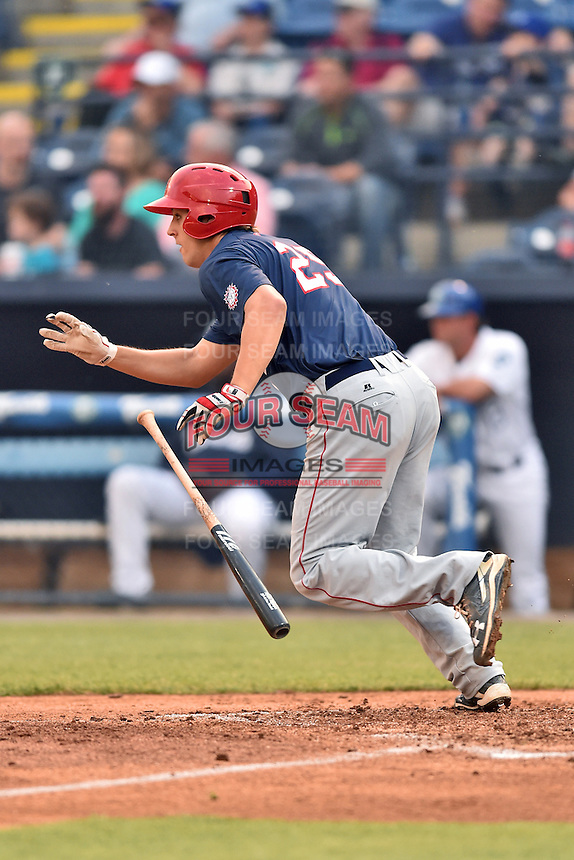Hagerstown Suns first baseman Ryan Ripken (25) swings at a pitch during a game against the Asheville Tourists at McCormick Field on April 26, 2016 in Asheville, North Carolina. The Suns defeated the Tourists 8-7. (Tony Farlow/Four Seam Images)