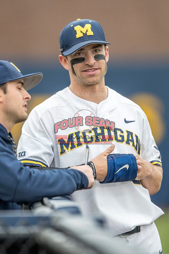 Michigan Wolverines outfielder Jonathan Engelmann (2) before the Big Ten game against the Maryland Terrapins on April 13, 2018 at Ray Fisher Stadium in Ann Arbor, Michigan. Michigan defeated Maryland 10-4. (Andrew Woolley/Four Seam Images)