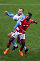 Liam Kelly of Coventry and Charlton's Tariq Fosu challenge for the ball during Charlton Athletic vs Coventry City, Sky Bet EFL League 1 Football at The Valley on 6th October 2018