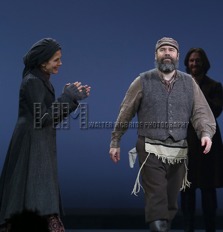 Jessica Hecht and Danny Burnstein during the Broadway Opening Night Performance Curtain Call bows for 'Fiddler On The Roof'  at the Broadway Theatre on December 20, 2015 in New York City.