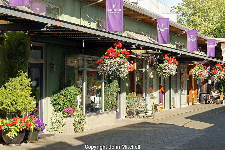 Shops and coffee shop on Railspur Alley, Granville Island, Vancouver, British Columbia, Canada