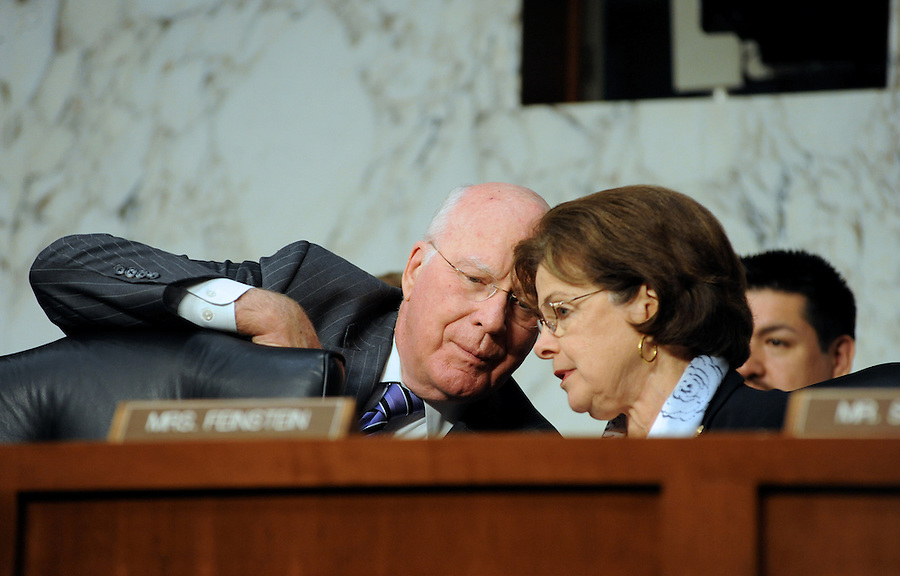 """Sen. Leahy talks with Sen. Feinstein during the hearing entitled """"S.598, The Respect for Marriage Act: Assessing the Impact of DOMA on American Families."""" (Photos by ©Amanda Lucidon/LucidPix)"""