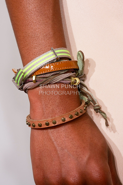 J. Crew bracelets worn by model during the J. Crew Women's Spring 2011 Collection Presentation.