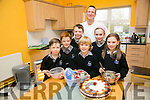 Scoil Nuachabail, Ballymac launching a bake sale fundraiser to be held at St Brendans Hall, Ballymac on Sunday 24th April. Pictured chef Mark Doe with  L-r  Eoin Joy, Jack Joy, Eoin Creedon, Michael Quirke, Ella Quirke and Rachel Creedon