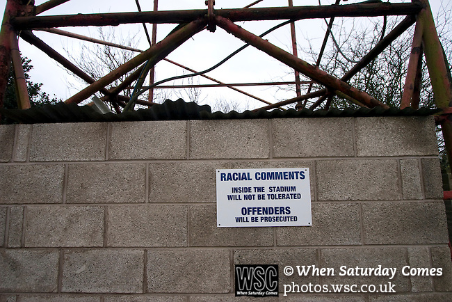 Workington AFC 0 Boston United 1, 24/02/2008. Borough Park, Blue Square North. A sign warning spectators about their behaviour at the Blue Square North fixture between hosts Workington AFC (red) and Boston United at Borough Park. The visitors won with a solitary sixth-minute goal by Jon Rowan in front of 388 spectators. Both Workington AFC and Boston United were members of the Football League, the Cumbrians losing League status in 1977 while the Lincolnshire club were relegated in 2007 and demoted two divisions for financial irregularities. Photo by Colin McPherson.
