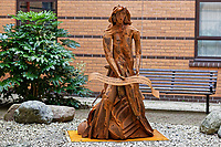 Pictured: The statue. Monday 05 February 2018<br /> Re: A sculpture has been unveiled at Welsh Centre for Burns and Plastic Surgery in Morriston Hospital to commemorate its links with Port Talbot steelworks in Wales, UK.<br /> It was inspired by Welsh mythology and created from Tata steel by artist Sarah Tombs.<br /> The sculpture is of the legendary Lady of Llyn y Fan Fach and was unveiled by Abertawe Bro Morgannwg health board to mark the 70th birthday of the NHS.<br /> According to the Mabinogion and The Red Book of Hergest, she was mother of the Physicians of Myddfai, who used magical powers to heal the sick and symbolises &quot;regeneration and healing&quot;.