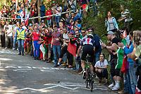 Picture by Richard Blaxall/SWpix.com - 30/09/2018 - Cycling 2018 Road Cycling World Championships Innsbruck-Tirol, Austria - Men's Elite Road Race - Crowd gather on the Ride to Höll (Hell)