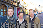 Killarney publican's Paudie O'Callaghan, Valarie O'Callaghan and Sean Murphy who are worried about the cost of running a bar in Killarney town