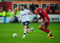 Preston North End's Paul Gallagher under pressure from Accrington Stanley's Liam Nolan<br /> <br /> Photographer Kevin Barnes/CameraSport<br /> <br /> The Carabao Cup - Accrington Stanley v Preston North End - Tuesday 8th August 2017 - Crown Ground - Accrington<br />  <br /> World Copyright &copy; 2017 CameraSport. All rights reserved. 43 Linden Ave. Countesthorpe. Leicester. England. LE8 5PG - Tel: +44 (0) 116 277 4147 - admin@camerasport.com - www.camerasport.com