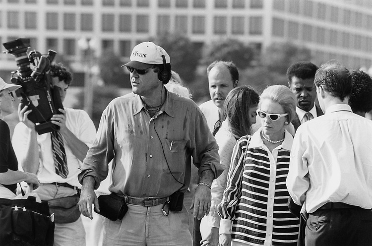 Oliver Stone with Nixon hat filming on West front of the Capitol Hill. Actress Madeline Kahn plays Martha Mitchell on July 31, 1995. (Photo by Gigi Goshko/CQ Roll Call)