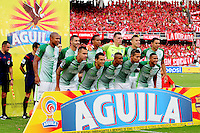 CALI -COLOMBIA, 5-03-2017. Formación del Atlético Nacional .Acción de juego entre los equipos  América de Cali y Atlético Nacional   durante encuentro  por la fecha 8 de la Liga Aguila I 2017 disputado en el estadio Pascual Guerrero./ Team of Atletico Naconal.Action game between America de Cali and  Atletico Nacional  during match for the date 8 of the Aguila League I 2017 played at Pascual Guerrero   stadium . Photo:VizzorImage / Nelson Rios  / Cont
