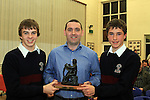 Joe Murphy presents the Fr Gerry Rice Award for Highest Academic Achievement in the Junior Cert to Thomas Ní Hoistin and Mark Farrelly at the School Awards Ceremony in St.Mary's School...(Photo credit should read Jenny Matthews www.newsfile.ie)....This Picture has been sent you under the conditions enclosed by:.Newsfile Ltd..The Studio,.Millmount Abbey,.Drogheda,.Co Meath..Ireland..Tel: +353(0)41-9871240.Fax: +353(0)41-9871260.GSM: +353(0)86-2500958.email: pictures@newsfile.ie.www.newsfile.ie.