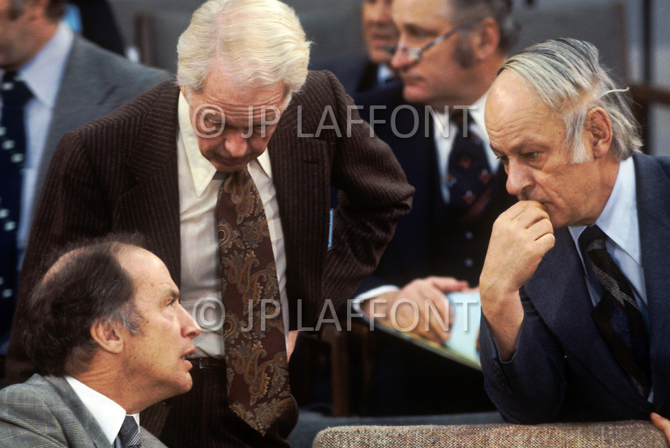 Ottawa, Canada, February 1978. Conference of Canadian Prime Ministers. Pierre E. Trudeau, (October 18, 1919 - September 28, 2000, on the left), was the 15th Prime Minister of Canada from April 20, 1968 to June 4, 1979, and again from March 3, 1980 to June 30, 1984. Also pictured is PQ Prime Minister Rene Levesque