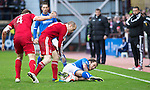 Aberdeen v St Johnstone....01.02.14   League Cup Semi-Final<br /> Stevie May is fouled by Willo Flood<br /> Picture by Graeme Hart.<br /> Copyright Perthshire Picture Agency<br /> Tel: 01738 623350  Mobile: 07990 594431