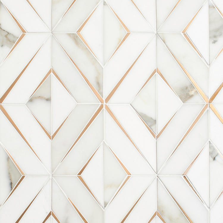 Simone, a waterjet stone mosaic, shown in honed Calacatta Gold, honed Thassos, and brushed Brass, is part of the Trove collection and available through the Studio Line of Ready to Ship mosaics.<br />