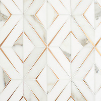 Simone, a waterjet stone mosaic, shown in honed Calacatta Gold, honed Thassos, and brushed Brass, is part of the Trove Collection and available through the Studio Line of Ready to Ship mosaics.