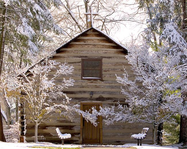 Log Chapel in winter.<br /> <br /> Photo by Matt Cashore/University of Notre Dame