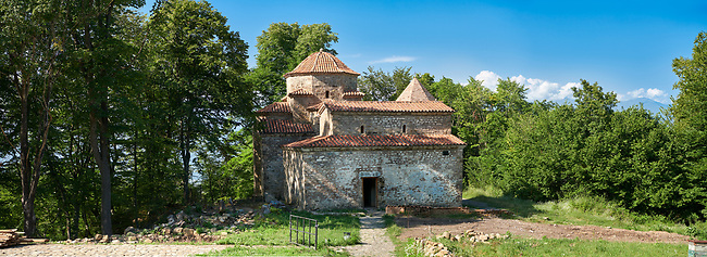 Pictures & images of (foreground) sixth century triple naive basilica behind which is a  a tetraconch cupola church from the first quarter of the seventh century. Dzveli (Old) Shuamta Monastery  founded by one of the 13 Syrian Fathers in the sixth century, Kakheti , Georgia (country).