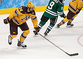 Hudson Fasching (MN - 24) - The University of Minnesota Golden Gophers defeated the University of North Dakota 2-1 on Thursday, April 10, 2014, at the Wells Fargo Center in Philadelphia to advance to the Frozen Four final.