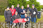 Neilie Shanahan presents the Castlaisland Mart Working Members Stake trophy to James O'Connor owner of the winning Greyhound Krispie Oasis at the Castleisland Coursing Meeting in Cahill Park, Castleisland on Monday front l-r: Moss O'Connor, Moss Leane. Back row: Christine Marshall, Mayor Bobby O'Connell, Mark Marshall, Neile Shanahan, James O'Connor and Paudie O'Connor