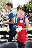 April 2, 2010: Nora Zehetner at the LA Mission Easter Luncheon event for the homeless in Los Angeles, California. .Photo by Nina Prommer/Milestone Photo.