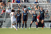 Cary, North Carolina  - Saturday June 03, 2017: Yael Averbuch sends a free kick over a wall of Taylor Smith, Lynn Williams, McCall Zerboni, and Samantha Mewis during a regular season National Women's Soccer League (NWSL) match between the North Carolina Courage and the FC Kansas City at Sahlen's Stadium at WakeMed Soccer Park. The Courage won the game 2-0.