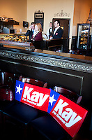 Staff for United States Senator from Texas and hopeful Republican candidate for Governor Kay Bailey Hutchison (cq) watch during a campaign stop at Bonnie Ruth's Cafe in Frisco, Texas, Wednesday, Feb. 17, 2010. Hutchison is hoping to reach a runoff election against current longtime Texas Governor Rick Perry (cq)...PHOTO/ MATT NAGER