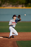Garrett Cutting during the Under Armour All-America Pre-Season Tournament, powered by Baseball Factory, on January 19, 2019 at Sloan Park in Mesa, Arizona.  Garrett Cutting is a shortstop from Las Vegas, Nevada who attends Arbor View High School and is committed to Stanford.  (Mike Janes/Four Seam Images)