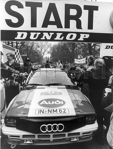 22.01.1984 Bad Homburg, Germany. Title favourite Hannu Mikkola from Finnland and his co-pilot Arne Hertz in their Audi Quattro shortly before the start of the 51st Rally Monte Carlo in Bad Homburg, Germany, 22 January 1983.