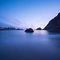 Spring twilight light at Haukland Beach, Vestvagoy, Lofoten Islands, Norway