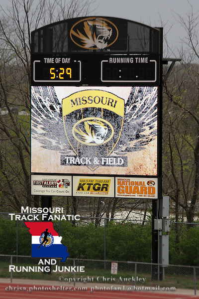 The 2nd year video board at Audrey Walton Stadium at the University of Missouri after the 2012 Missouri Relays. The meet was affected by weather on Friday with the girls triple jump postponed the the boys discus called early while the high school 3200 and college/open 5,000s delayed on Friday night. Saturday the sun was shining providing great conditions early before the clouds moved in to make it an overcast afternoon.