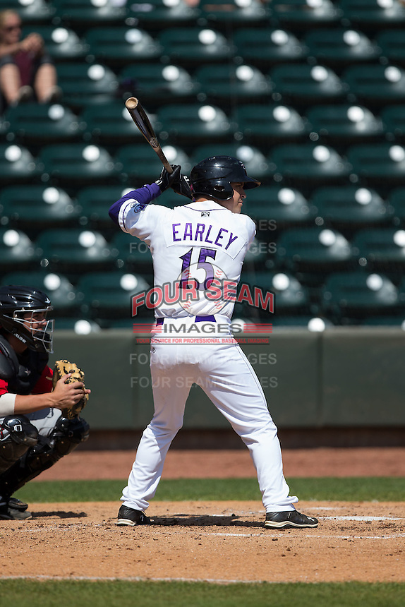 Nolan Early (15) of the Winston-Salem Dash at bat against the Carolina Mudcats at BB&T Ballpark on April 22, 2015 in Winston-Salem, North Carolina.  The Dash defeated the Mudcats 4-2..  (Brian Westerholt/Four Seam Images)