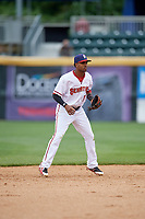 Harrisburg Senators shortstop Osvaldo Abreu (11) during the first game of a doubleheader against the New Hampshire Fisher Cats on May 13, 2018 at FNB Field in Harrisburg, Pennsylvania.  New Hampshire defeated Harrisburg 6-1.  (Mike Janes/Four Seam Images)