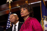 House Oversight and Government Reform Committee Chairman Elijah Cummings (Democrat of Maryland) and Financial Services Committee Chairwoman Maxine Waters (Democrat of California)  attend a press conference on Capitol Hill in Washington D.C., U.S. on June 11, 2019.  The press conference followed a House vote, where lawmakers passed a bill which allows the House Judiciary Committee to call on Federal judges to enforce Congressional subpoenas. Photo Credit: Stefani Reynolds/CNP/AdMedia