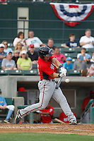 Potomac Nationals outfielder Brandon Miller (20) at bat during a game against the Myrtle Beach Pelicans at Ticketreturn.com Field at Pelicans Ballpark on May 25, 2015 in Myrtle Beach, South Carolina.  Myrtle Beach defeated Potomac 3-0. (Robert Gurganus/Four Seam Images)