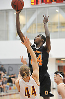 #24 Zach Baines<br /> The Occidental College men's basketball team plays against Claremont-Mudd-Scripps in the SCIAC Semi Final game on Friday, January 22, 2019 in Claremont.<br /> Oxy won, 64-62 in overtime and will go on to the final championship against Pomona-Pitzer on Saturday.<br /> (Photo by John Valenzuela, Freelance Photographer)