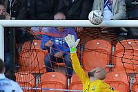 The bar saves barnet during Barnet vs Bristol Rovers, Emirates FA Cup Football at the Hive Stadium on 11th November 2018