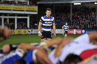 Ollie Devoto of Bath Rugby watches a scrum. Aviva Premiership match, between Bath Rugby and Harlequins on November 28, 2014 at the Recreation Ground in Bath, England. Photo by: Patrick Khachfe / Onside Images