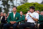 Bubba Watson and Adam Scott during the green jacket ceremony after the final round of the Masters Tournament at Augusta National Golf Club on Sunday, April 13, 2014, in Augusta, Ga