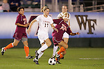 07 November 2008: Virginia's Sinead Farrelly (17) and Virginia Tech's Jennifer Harvey (20). The University of Virginia and Virginia Tech played to a 1-1 tie after 2 overtimes at WakeMed Stadium at WakeMed Soccer Park in Cary, NC in a women's ACC tournament semifinal game.  Virginia Tech advanced to the final on penalty kicks, 2-1.