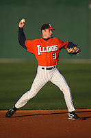 February 26, 2010:  Shortstop Josh Parr (9) of the Illinois Fighting Illini during the Big East/Big 10 Challenge at Jack Russell Stadium in Clearwater, FL.  Photo By Mike Janes/Four Seam Images