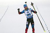 16th March 2019, Ostersund, Sweden; IBU World Championships Biathlon, day 8, mens relay; Alexander Loginov (RUS) celebrates as he comes across the finish line