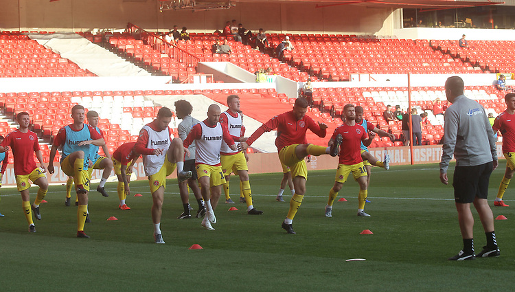 Fleetwood Town's players warm up<br /> <br /> Photographer Mick Walker/CameraSport<br /> <br /> The Carabao Cup First Round - Nottingham Forest v Fleetwood Town - Tuesday 13th August 2019 - The City Ground - Nottingham<br />  <br /> World Copyright © 2019 CameraSport. All rights reserved. 43 Linden Ave. Countesthorpe. Leicester. England. LE8 5PG - Tel: +44 (0) 116 277 4147 - admin@camerasport.com - www.camerasport.com