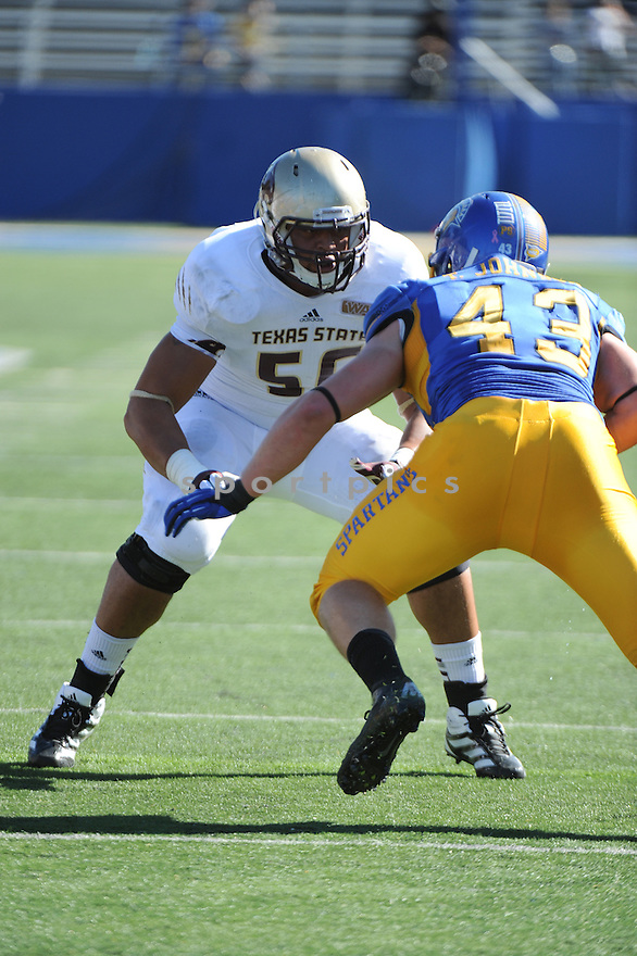 Texas State Bobcats Collin Fissell (50) in action during a game against San Jose State on October 27, 2012 at Spartan Stadium in San Jose, CA. San Jose State beat Texas State 31-20.