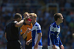 Referee Kevin Friend sending off home midfielder Craig Gardner (right) in the first half at St. Andrew's stadium, during Birmingham City's Barclay's Premier League match with Wolverhampton Wanderers. Both clubs were battling against relegation from  England's top division. The match ended in a 1-1 draw, watched by a crowd of 26,027.